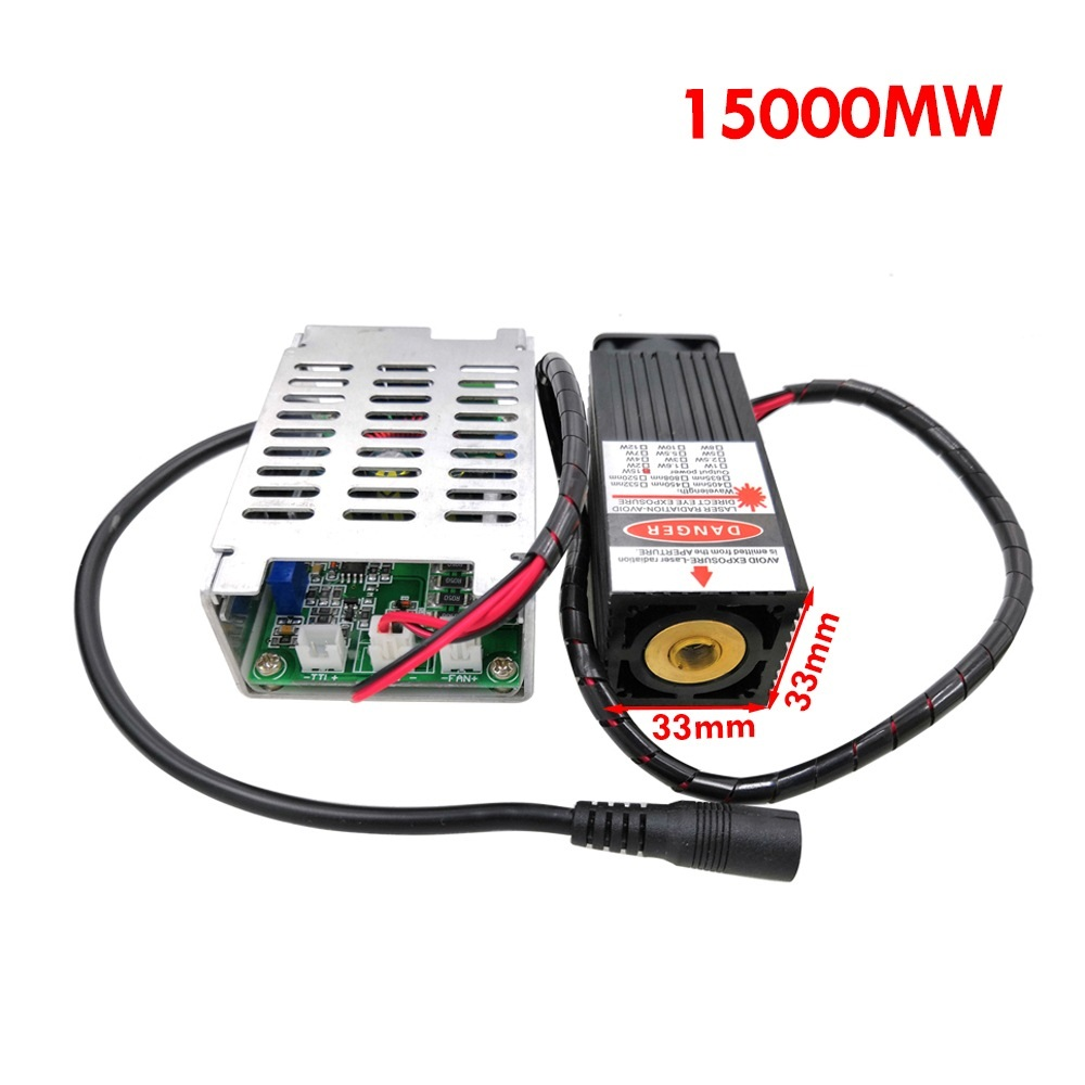 7500 15000mW 12V Laser Engraving Machine Part Part Laser High Power Focus Blue Laser Module DIY Laser Engraver Part with TTL PWM in Woodworking Machinery Parts from Tools