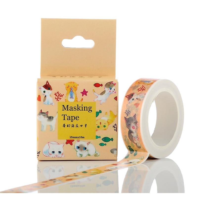1.5cm Wide My Neighbor Cat Washi Tape Adhesive Tape DIY Scrapbooking Sticker Label Masking Tape