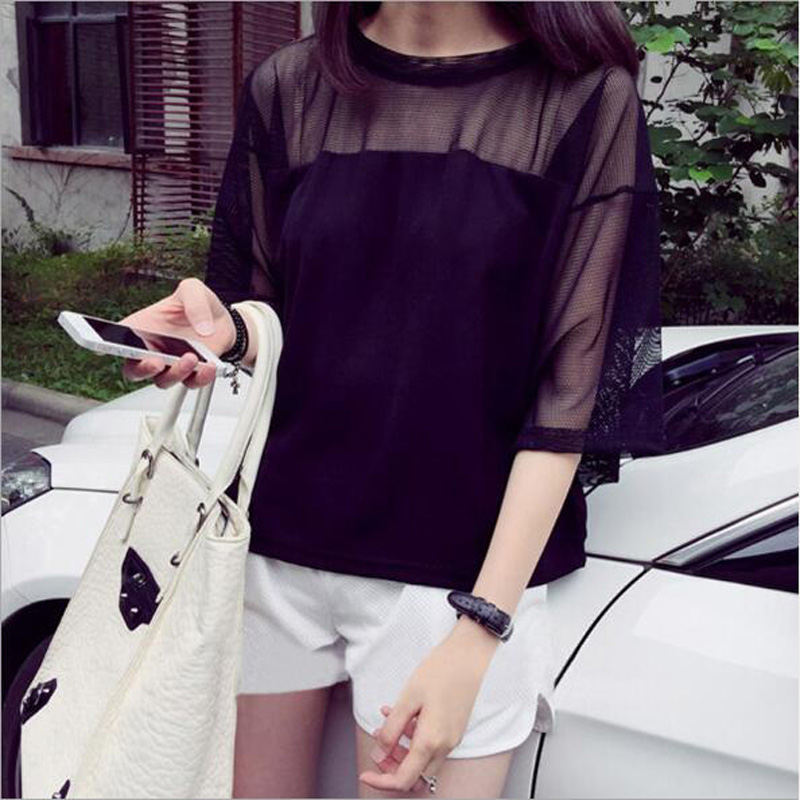Hot Sexy Women T shirt Summer Transparent Half Sleeve O Neck Mesh Women Tops Tees Casual One Size Women Tshirt