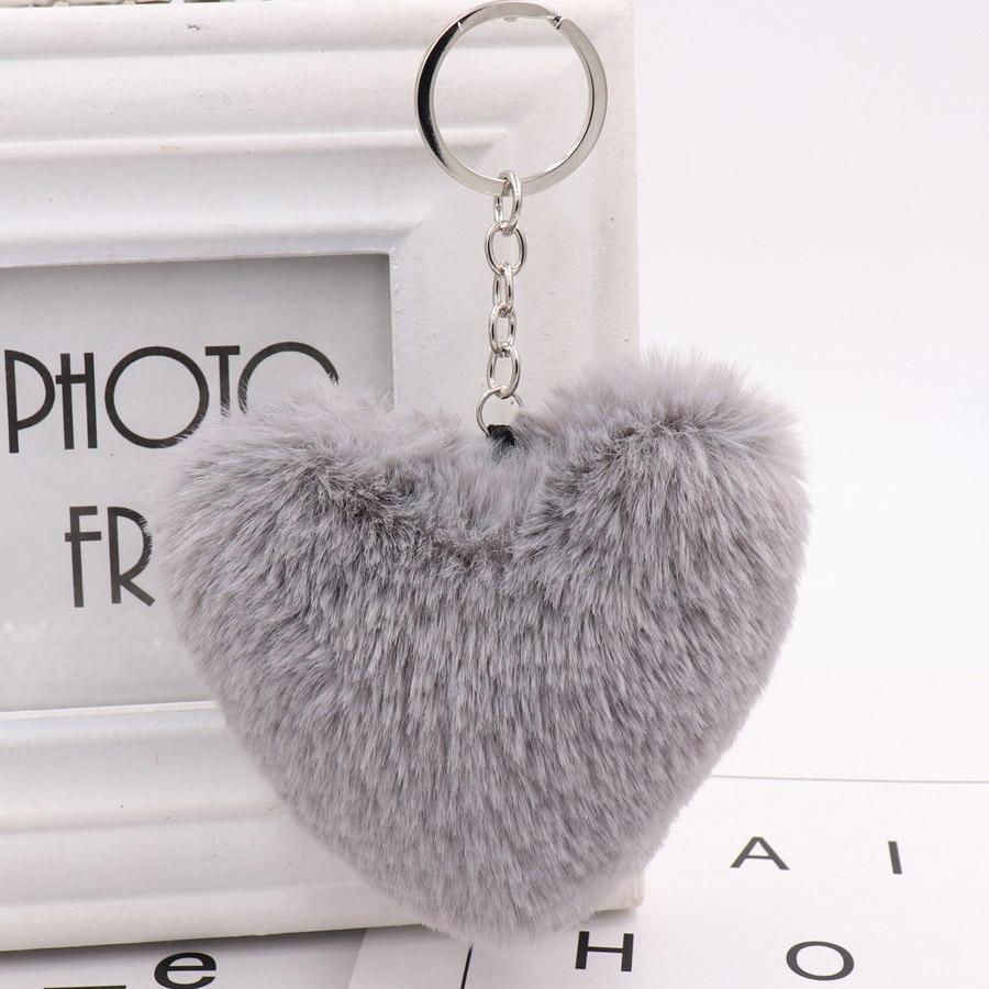 US $1 3 20% OFF|Marcatsa Fluffy Red Heart Shape Real Rabbit Fur Ball  Keychain Bag Toy Charm Key Chain Car Key ring keychains for Women  Jewelry-in Key