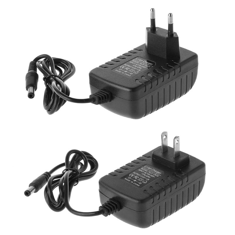 EU /US Plug 12.6V 2A 18650 Lithium Battery Charger DC 5.5MM x 2.1MM Portable Charger