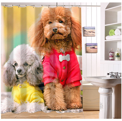 YY612f40 New Custom Cute Pet Teddy Doggy Poodle Modern Shower Curtain Bathroom Beautiful LJ W40 In Curtains From Home Garden On Aliexpress
