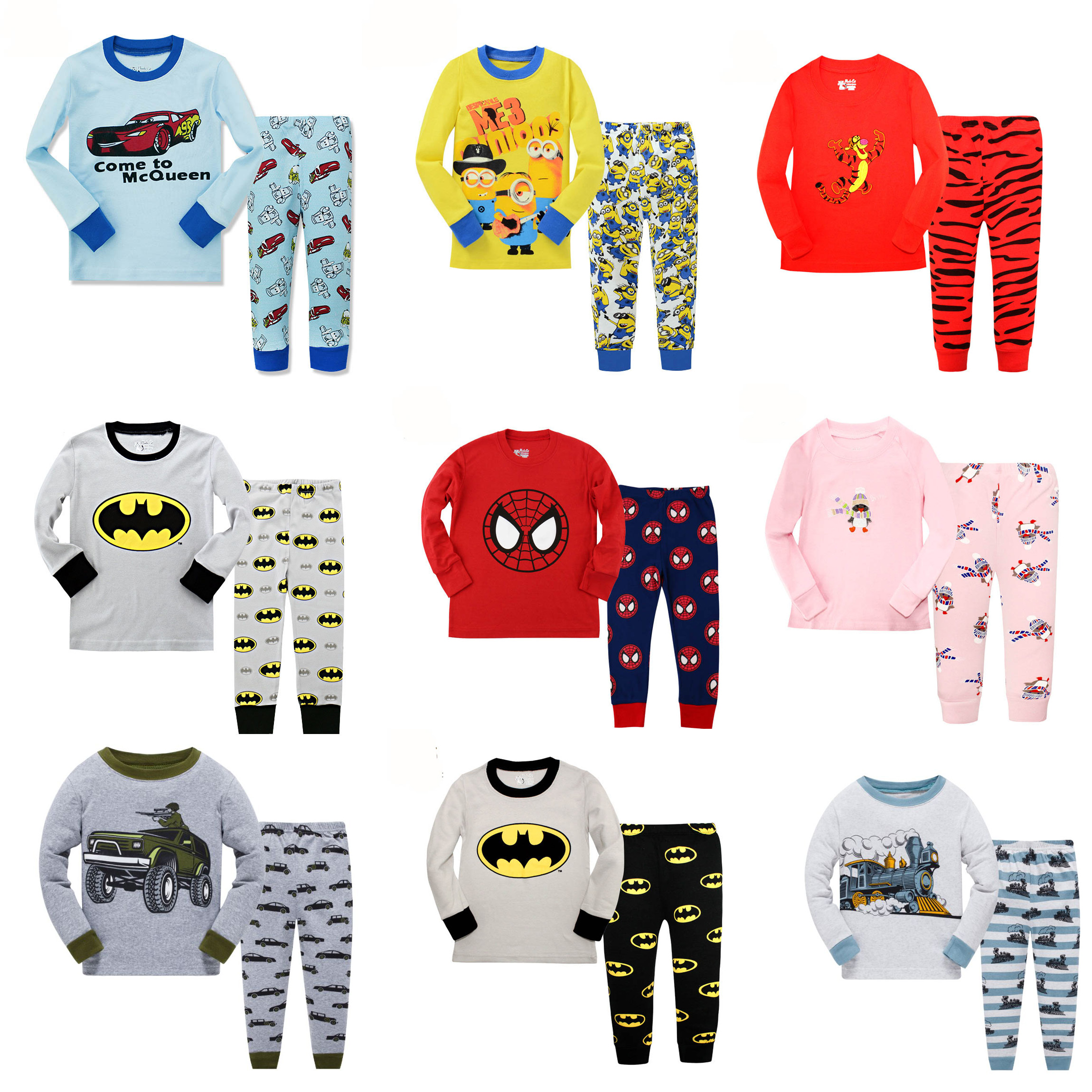 Floret LULU Kid's   Pajamas     sets   boys Spiderman Cotton Car Styling baby Kids Pijama Infantil Pyjama girl Home Clothes christmas