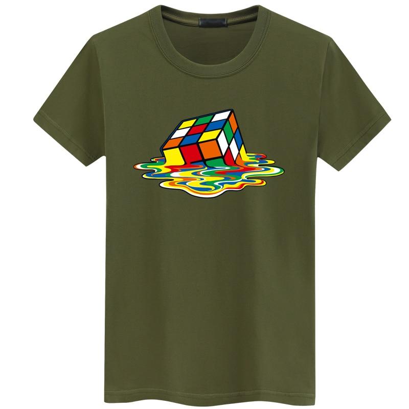06d753f71 Rubik Cube Print T Shirts Men & Women Fashion Design Summer O-neck Plus size