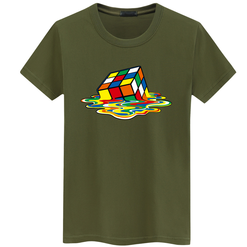 Rubik Cube Print   T     Shirts   Men & Women Fashion Design Summer O-neck Plus size 5XL Short Sleeve the big bang theory Tee streetwear