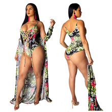 SUWA Special design women print bodysuit beach 2 pieces short jumpsuit summer boho