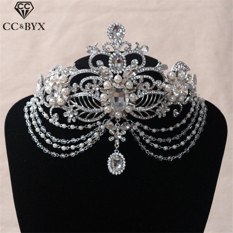 CC короны тиары повязки для волос спереди стразы жемчужные аксессуары для волос для свадьбы капли воды ювелирные изделия для вечеринки HG382