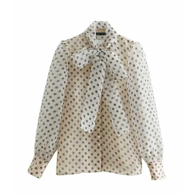 d2a8a682b1ae37 women sweet polka dots printing casual organza blouses shirt women long  sleeve bow tied smock blusas