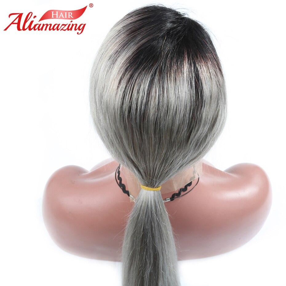 Али удивительные волосы Ombre серый Glueless Синтетические волосы на кружеве парик с ребенком волос 130% плотность бразильский Синтетические волос...
