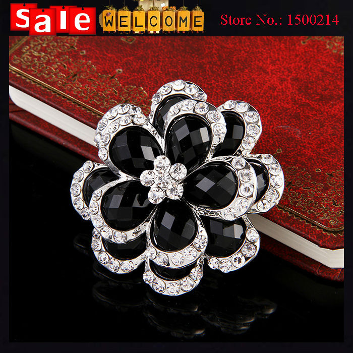 Big Black Crystal Flower Silver Plated Austrian Crystal Oil Drop Brooches&Pin For Women Fashion Jewelry Wedding Party Gift