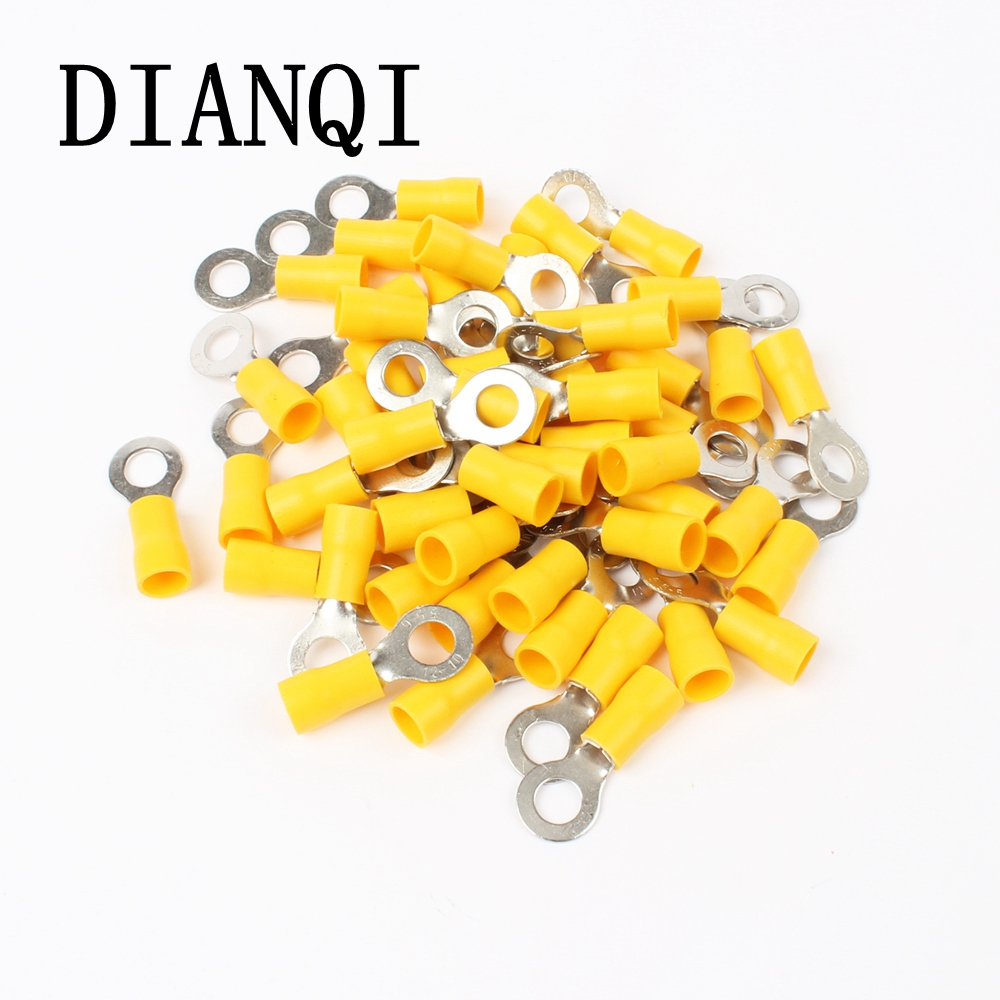 цена на DIANQI RV5.5-6 Yellow Ring insulated terminal cable Crimp Terminal suit 4-6mm2 Cable Wire Connector  100PCS/Pack RV5-6 RV