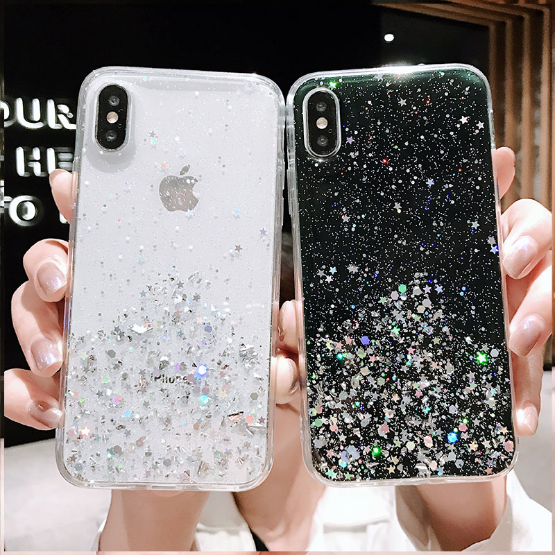 RKQ Sparkling Star Silver Foil TPU Back Phone Case For Huawei P10 P20 P30 Lite 2019 Honor 8X 9 V20 Mate 10 20 pro Case in Half wrapped Cases from Cellphones Telecommunications