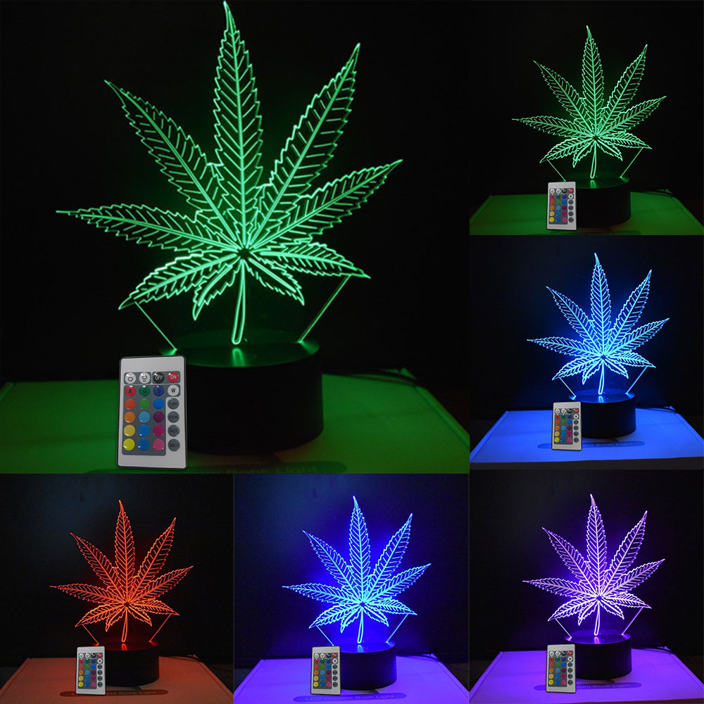 Creative 3D LED Leaf Table Lamp Holiday Indoor Festival Decoration USB Colorful Desk Light Drop Shipping