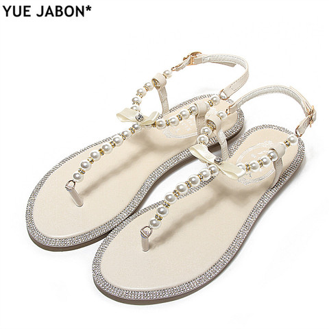 Women sandals 2018 new summer shoes flat pearl sandals comfortable string bead beach slippers casual sandals pink white black Lahore