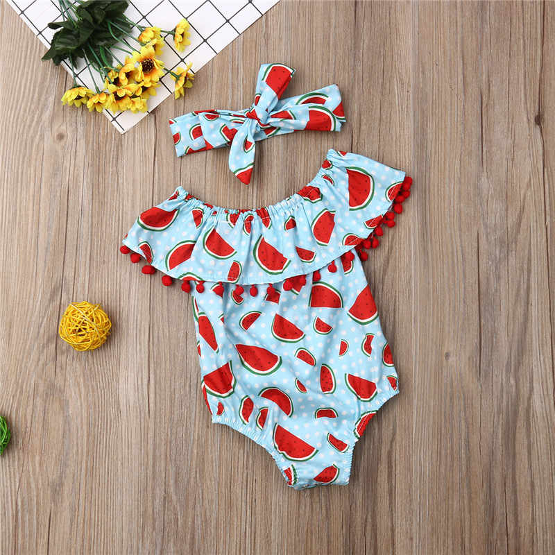 Summer Toddler Baby Girls clothes off shoulder Tassel Ruffle sleeveless Watermelon print Bodysuit Bow Headband 2pc cotton Outfit