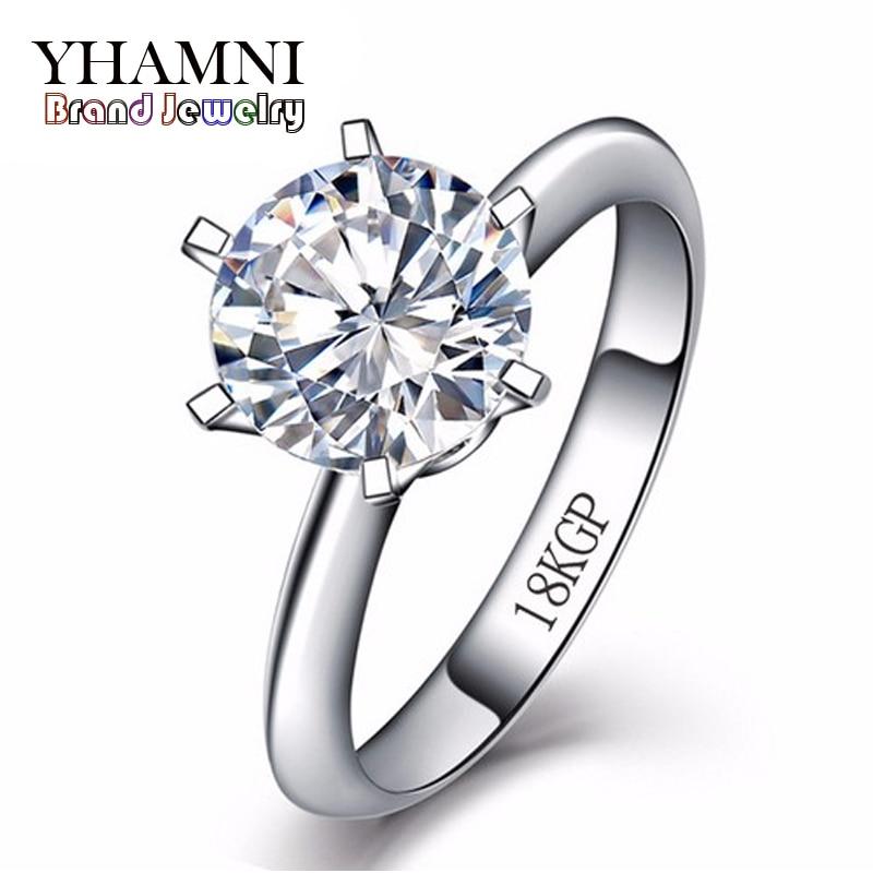 Продвижение золото Заполненные кольцо с 18kgp штамп Pure White Gold Кольца 8 мм 2 карат SONA CZ Diamant Свадебные кольца для Для женщин arh099