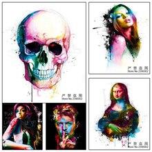 3D DIY Diamante Pintura Punto de cruz Cráneo colorido Chica Retrato
