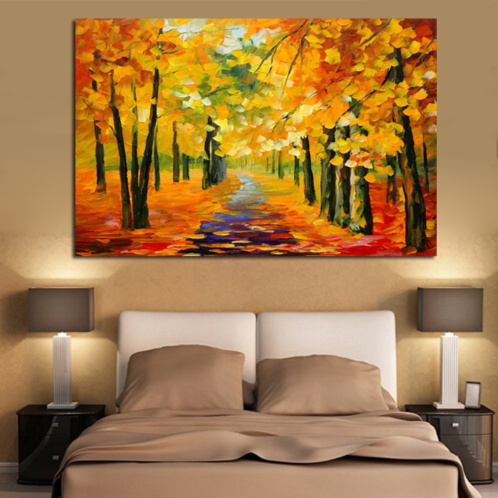 bb handmade-Golden-Tree-Forest-painting-Knife-Oil-Painting-On-Canvas-Gold-Montreal-Picture-Wall-Art-me (5)