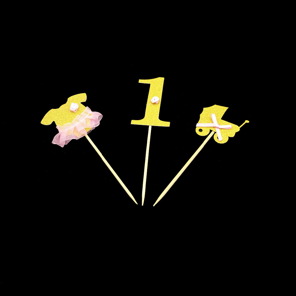 Chicinlife 3Pcs/lot Gold Number 1 Cupcake Topper 1st Birthday Party Decoration Cake Decoration Baking Decor