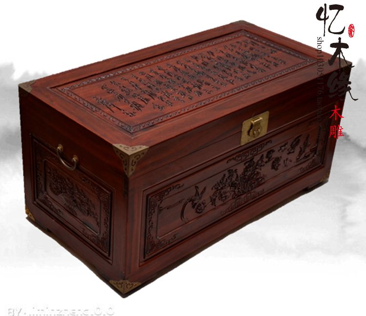 Camphor wood carved antique old wooden box suitcase box gift box Zhang marriage dowry box painting collection box beverley box beverley box be064ameym64