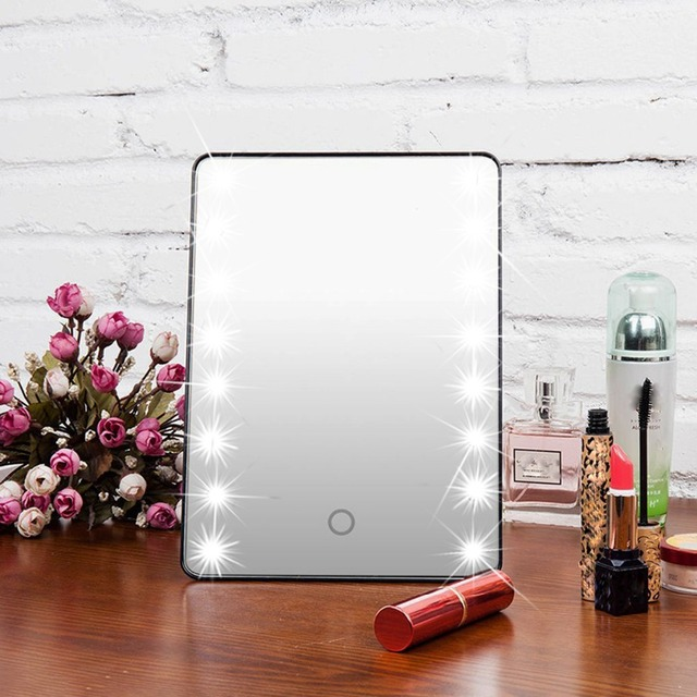 16 LED Light Makeup Mirror Touch Screen Portable Lighted Cosmetic Vanity  Mirror Adjustable 180 Rotating Table
