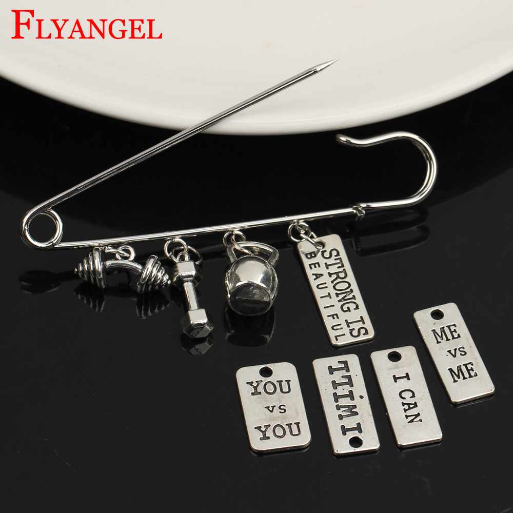 Creative Kilt Pin Shawl Pin Men Women Fitness ME I CAN STRONG Brooch 4 Holes Kettleball Dumbbell Barbell Pendant Clothes Jewelry
