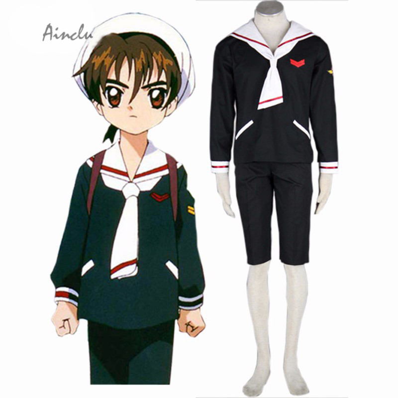 Ainclu Halloween Great Cardcaptor Sakura Anime Tomoeda Elementary Li Syaoran Winter School Uniform Halloween Cosplay Costume