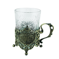 Kitchen living room supplies vintage brass color metal saucer water & coffee tea cups golden men gift cups with handgrip