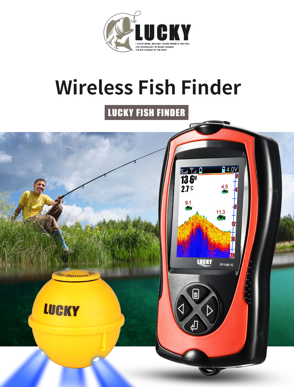 Free Shipping! LUCKY FF1108-1CWLA Rechargeable Wireless Remote Sonar Sensor 45M water depth High Definition LCD Fish Finder (7)