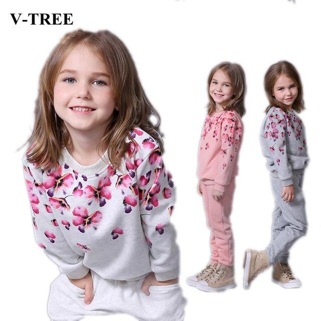 bc07c2166699 V-TREE Весенне‑осенний комплект одежды для девочек цветочный принт детский  повседневный комплект спортивный