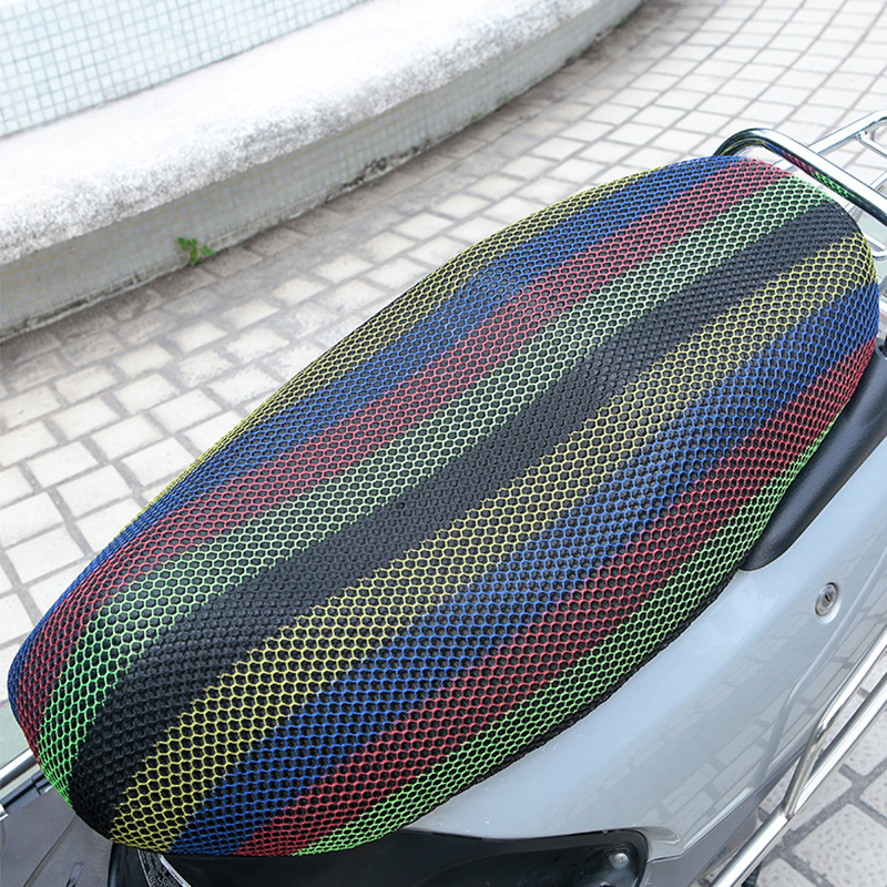 New Breathable Summer 3D Mesh Motorcycle Seat Cover Sunscreen Anti-Slip Waterproof Heat insulation Cushion protect Net Cover---S(China)