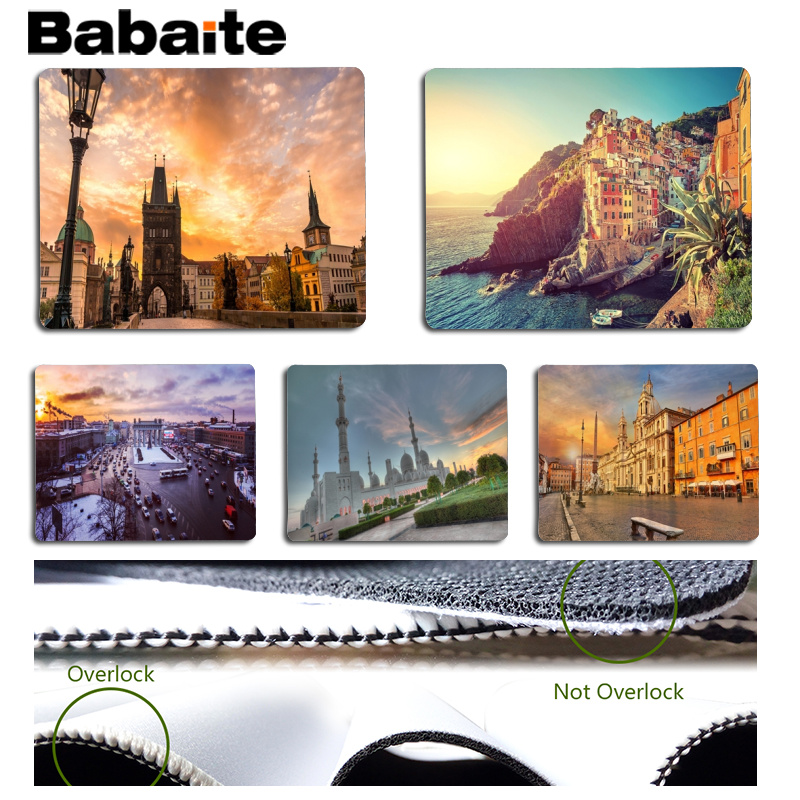 Babaite Cool New Beautiful European architecture Beautiful Anime Mouse Mat Size for 18x22cm 25x29cm Rubber Mousemats