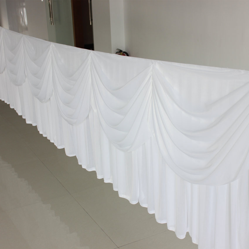 White luxury table skirt with swag swag for wedding for Table skirting