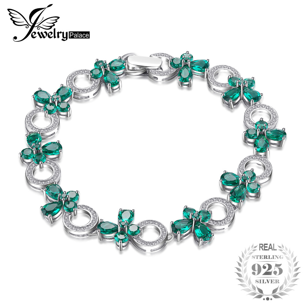 JewelryPalace Butterfly 6.8ct Created Emerald Link Tennis Bracelet 925 Sterling Silver Fashion For Women 2018 jewelrypalace butterfly 3 7ct created emerald bangle bracelet 925 sterling silver fashion fashion jewelry for women 2018 new
