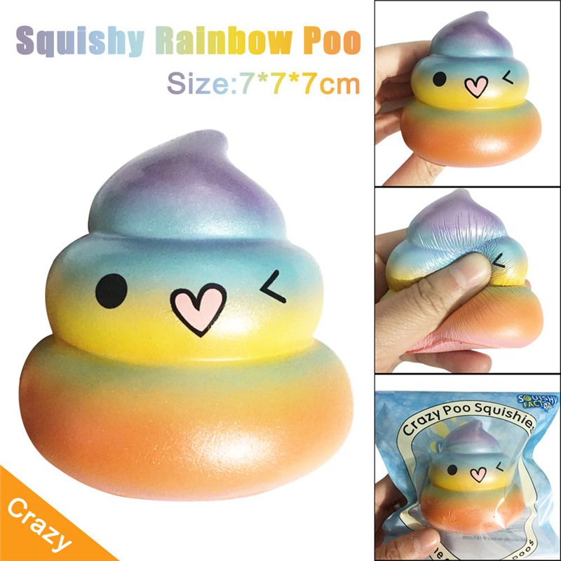 2017 New Colorful Rainbow Shape Exquisite Fun Crazy Poo Scented Squishy Charm Slow Rising 7cm Simulation Kid Toy Drop Shipping