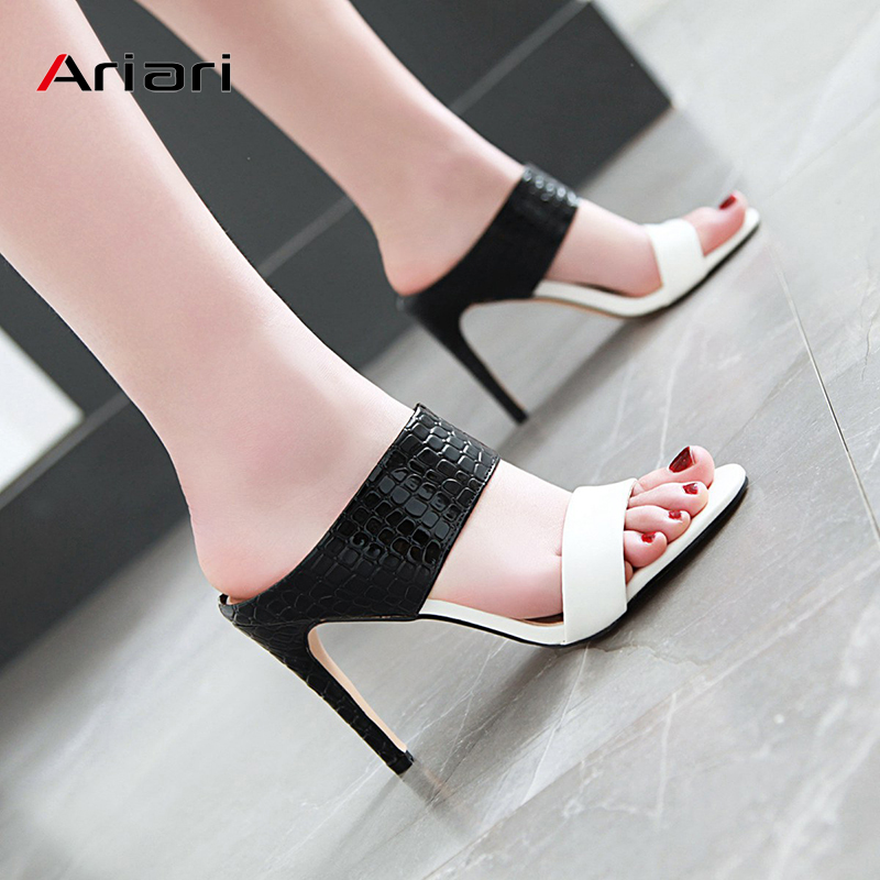 Women Slippers Summer slip on pumps high heel Peep Toe sandals Crocodile Texture wedding shoes PU ladies heel big size 34-48