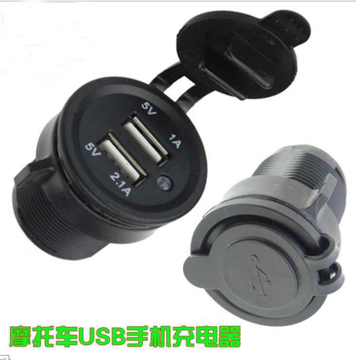ФОТО 12-24V motorcycle usb charger Car Modified Double USB Car Charger Waterpoof 2A