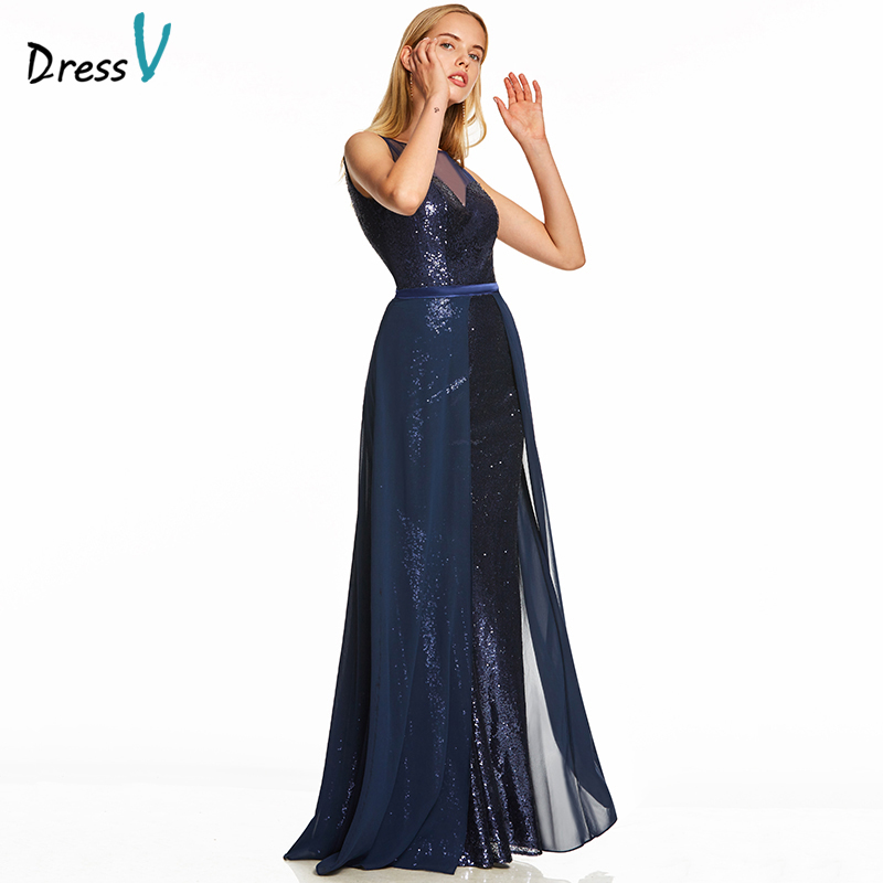 Dressv dark royal blue a line long   evening     dress   cheap scoop neck sleeveless wedding party formal   dress   sequins   evening     dresses