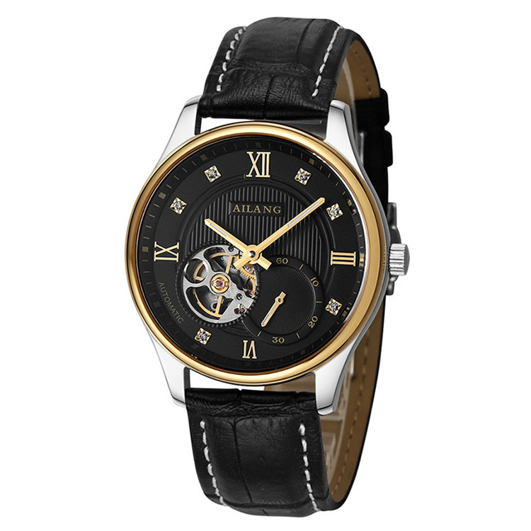 AILANG Elegant British Wind Men Business Statement Watches Automatic Roman Dress Wrist watch Leather Steel Crystals Relojes W007 totem element cool guys relief dragon horse watches ailang men crystals tourbillon wrist watch auto self wind leather reloj w024