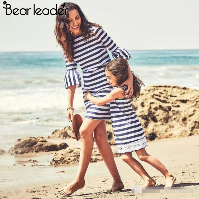 Bear Chief Striped Costume 2018 Spring Household Matching Outfits Mom And Daughter Striped Costume O Collar Lace Attire