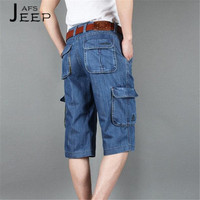 AFS JEEP Classical Style Man S Summer Plus Size Widen Cargo Short Denim Bottoms Dark Blue