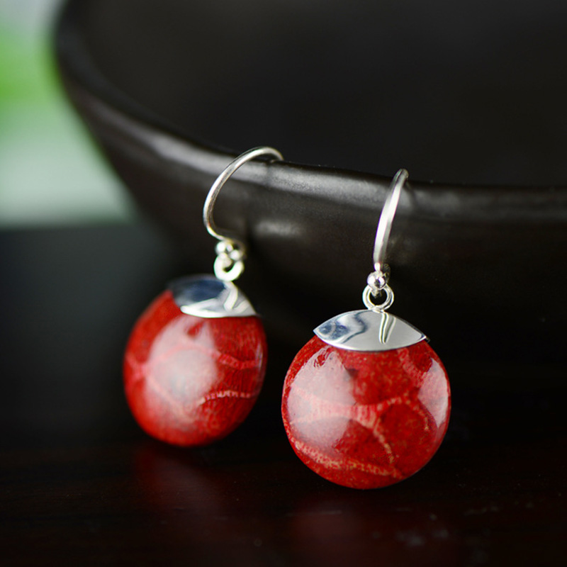 925 Sterling Silver Jewelry Natural Gemstone Coral Round Drop Earrings For Women Ladies Fine Jewellery Zilveren Oorbellen925 Sterling Silver Jewelry Natural Gemstone Coral Round Drop Earrings For Women Ladies Fine Jewellery Zilveren Oorbellen