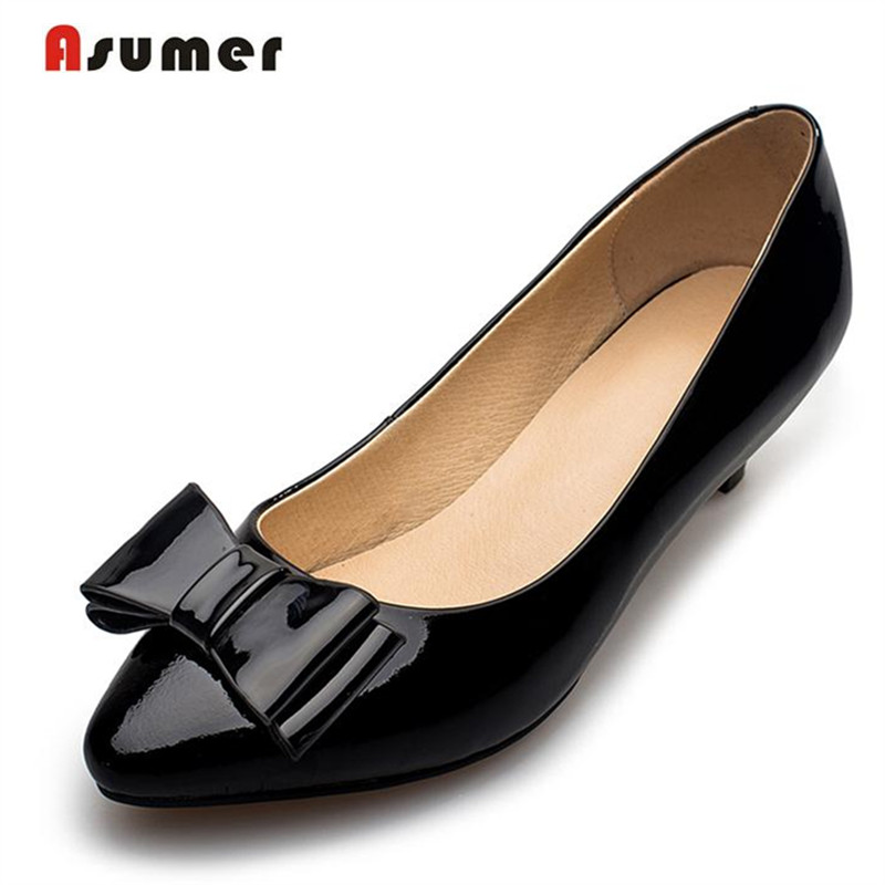 ФОТО Asumer All leather cowhide + pigskin shoes women low heels solid work shoes bowtie pointed toe four seasons shoes