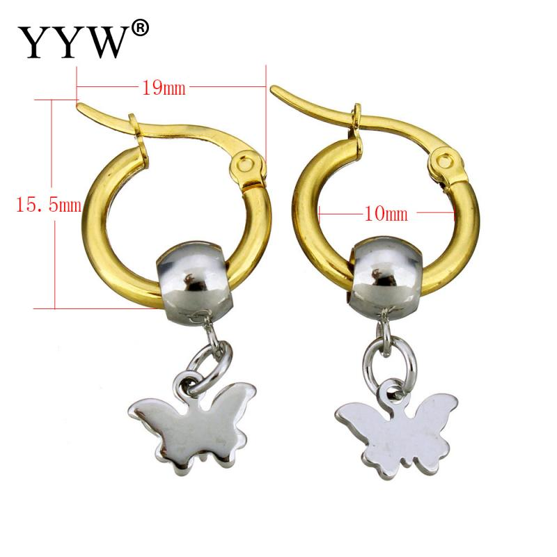 YYW Hot Sale Gold-color Round Loop Earrings Small Lovely Stainless Steel Lever Back Butterfly Dangle Drop Earring for woman