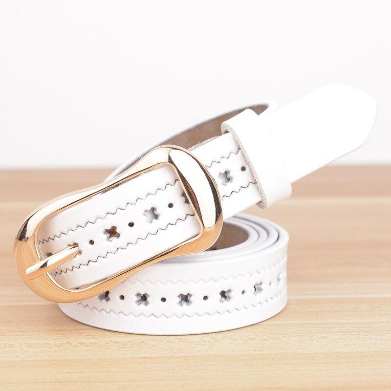 Для женщин фирменного дизайна Ремни Оригинальные кожаные женские ремни модные Повседневное на полой подошве, с пряжкой из женский ремень из натуральной кожи - Цвет: Белый