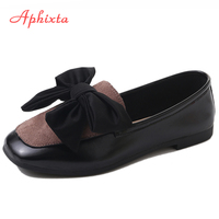 Aphixta Loafers Women Shoes Flats Heel Patchwork Butterfly Knot Square Toe Female Ladies Casual Slip On