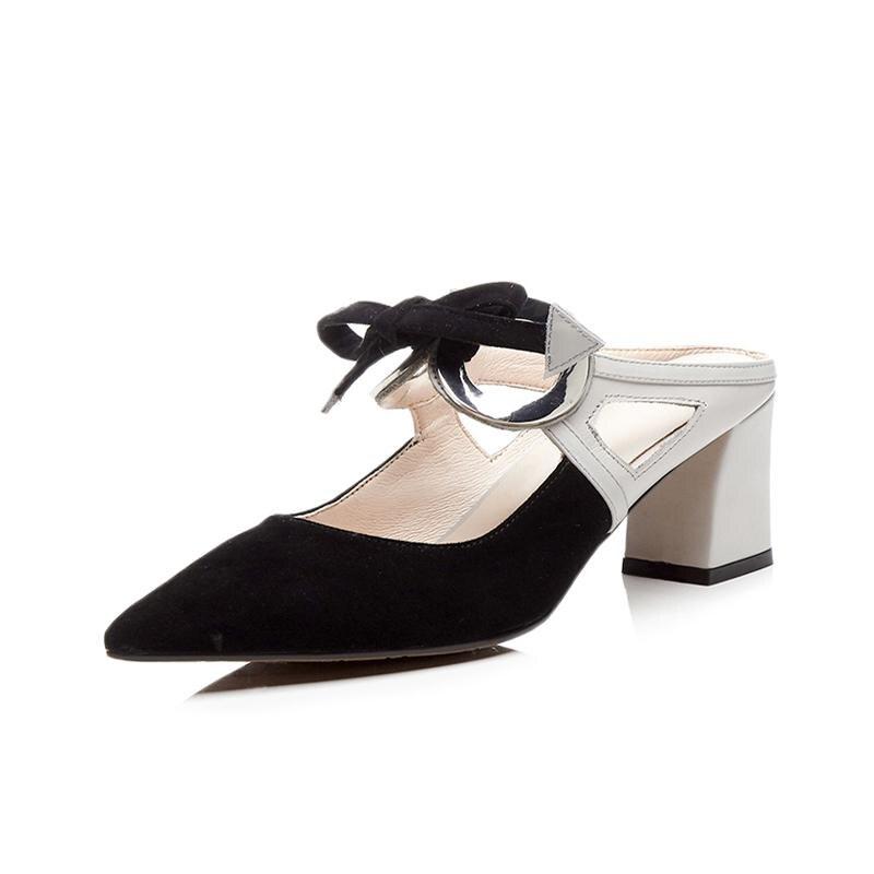 Krazing pot 2018 양 스웨이드 암소 leatehr 브랜드 신발 하이힐 여성 샌들 슬링 백 라운드 버클 bowtie 빈 다시 뮬 l02-에서하이힐부터 신발 의  그룹 2