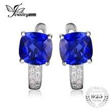 JewelryPalace Cojín 4.6ct Creado Azul Zafiro Clip En Los Pendientes de Plata de Ley 925 Joyería Declaración de Joyería Fina
