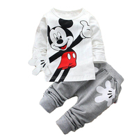 2017 Newborn Baby Boys Clothes Set Cartoon Long Sleeved Tops And Pants 2PCS Outfits Kids Bebes