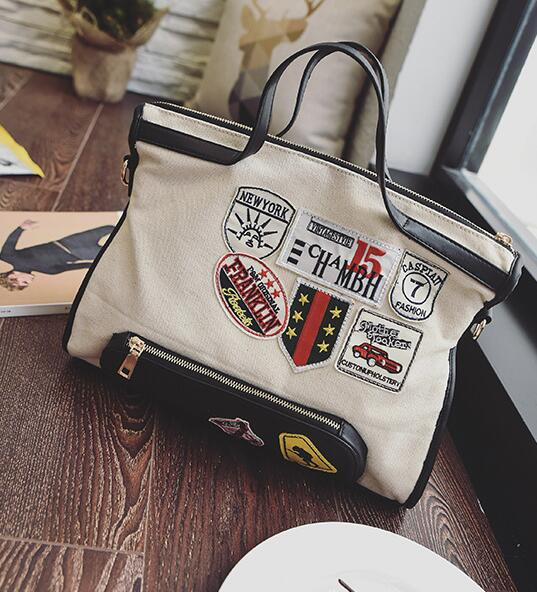 040297bc1259 US $29.99 |woman canvas cotton patch big bag brand new lady nice black  letter shoulder bag -in Top-Handle Bags from Luggage & Bags on  Aliexpress.com | ...